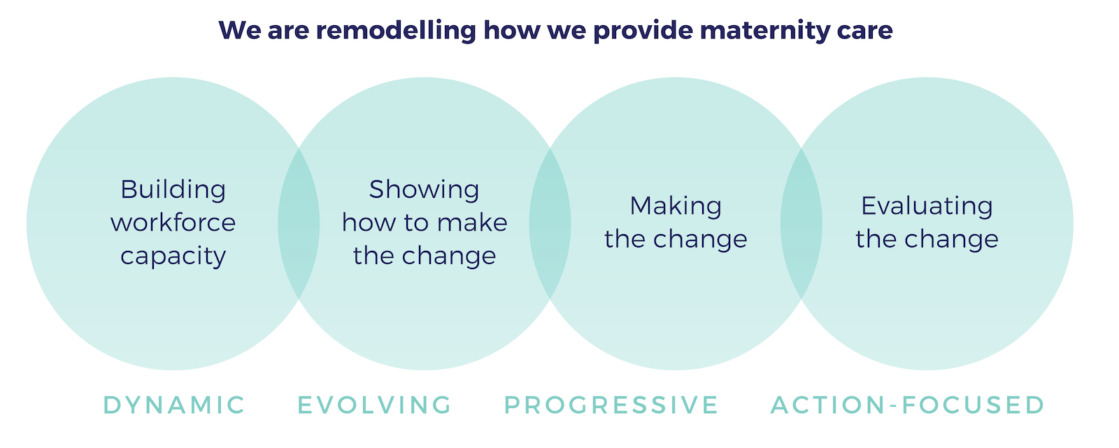 Dynamic (building workforce capacity), Evolving (showing how to make the change), Progressive (making the change), Action-focused (evaluating the change).